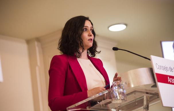 La presidenta de la Comunidad de Madrid, Isabel Díaz Ayuso, interviene en una rueda de prensa tras una reunión del Consejo de Gobierno, que hoy se celebra en Aranjuez, Madrid (España), a 24 de marzo de 2021. 24 MARZO 2021;AYUSO;ARANJUEZ;CONSEJO DE GOBIERNO;MADRID A.Martínez Vélez. POOL / Europa Press 24/3/2021