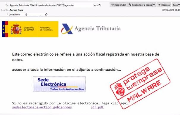 Mail falso de Hacienda