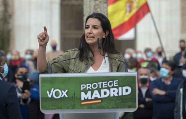 La candidata de Vox a la Presidencia de Madrid, Rocío Monasterio, durante un acto preelectoral.