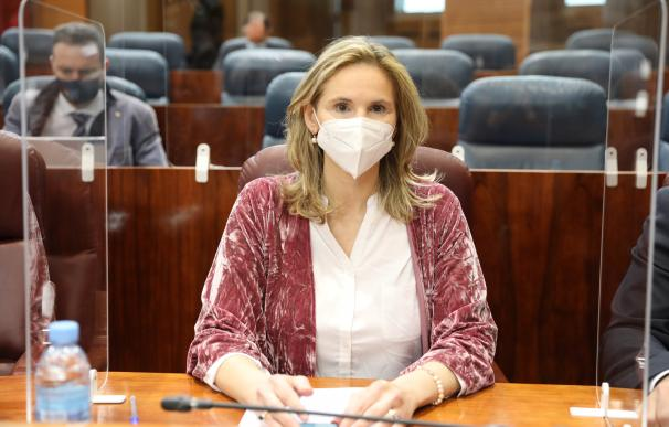 La consejera madrileña de Medio Ambiente, Ordenación del Territorio y Sostenibilidad, Paloma Martín, durante una sesión plenaria en la Asamblea de Madrid.