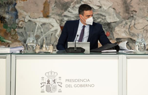 Pedro Sánchez durante la reunión del Consejo de Ministros de este martes