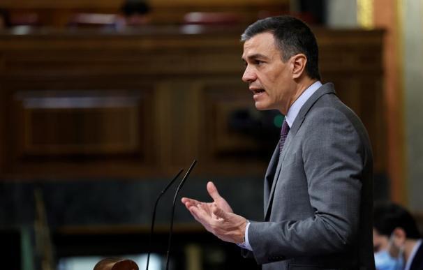 El presidente del Gobierno, Pedro Sánchez durante su intervención este miércoles al Congreso donde defenderá el Plan de Recuperación, Transformación y Resiliencia de la economía.