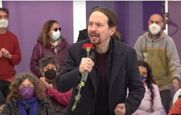El candidato de Unidas Podemos a la Presidencia de la Comunidad de Madrid, Pablo Iglesias, en un mitin en Collado Villalba.