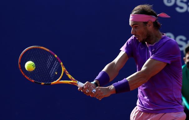 El tenista Rafael Nadal, durante la final del Open Banc Sabadell ante el tenista griego Stéfanos Tsitsipás.