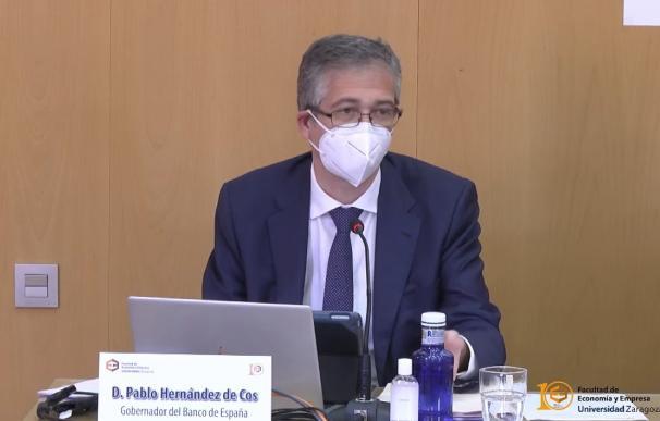 El gobernador del Banco de España, Pablo Hernández de Cos, en una conferencia en la Universidad de Zaragoza.- UNIVERSIDAD DE ZARAGOZA 27/4/2021