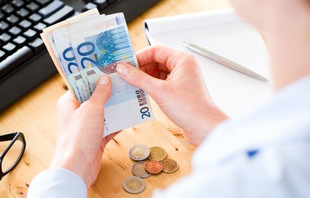 Dinero, subsidio, ayudas, persona trabajando con billetes de euro