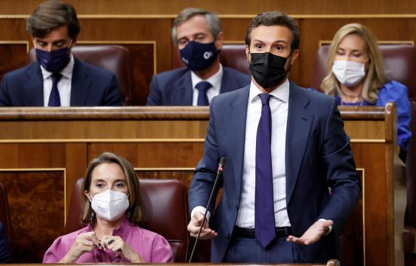 El líder del Partido Popular, Pablo Casado (d), interviene durante la sesión de control al Gobierno celebrada este miércoles en el Congreso de los Diputados.